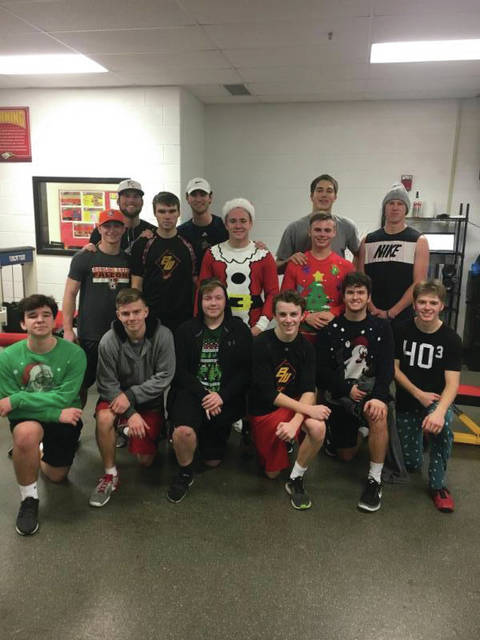 Members of the baseball team wore their ugly holiday sweaters during their last lift of the 2017. In addition, alumni who were back for holiday break joined the current players during their lifting hours.
