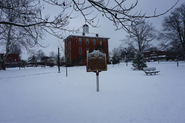 The Village Square is covered in snow on Monday morning, Jan. 8. The weather reports called the combined ice and snow a wintry mix, and it was considered slick enough that Big Walnut Schools cancelled classes. The forecast calls for more precipitation in the form of rain.