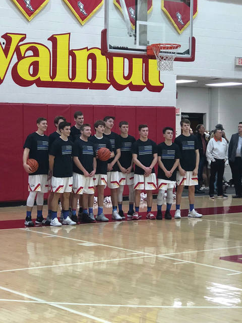 The Big Walnut boys basketball team supports the Westerville Police Department. #WestervilleStrong