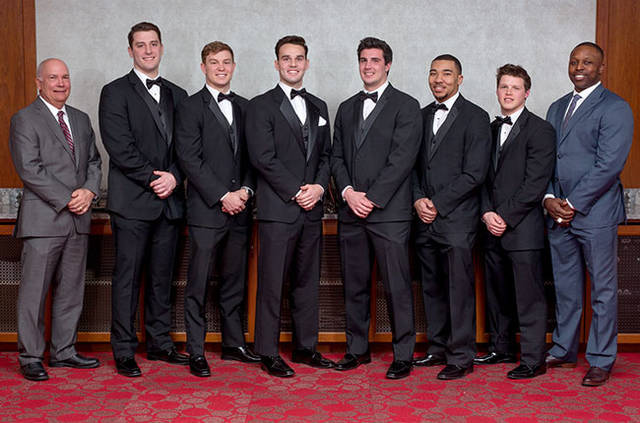 Stepp (third from left) poses with other college players and special-award winners, including Mike Doss on far right.