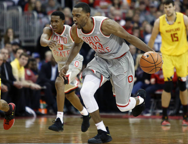 FILE - In this Jan. 11, 2018, file photo, Ohio State's Keita Bates-Diop (33) plays against Maryland during an NCAA college basketball game, in Columbus, Ohio. Bates-Diop is The Associated Press player of the year in the Big Ten Conference and the Buckeyes' Chris Holtmann is its coach of the year. Bates-Diop and Purdue's Carsen Edwards were unanimous picks to the AP All-Big Ten team, also announced Wednesday, Feb. 28, 2018, in voting by 12 journalists covering the conference. (AP Photo/Jay LaPrete, File)
