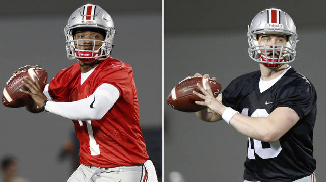 FILE - These are March 7, 2017, file photos, showing Ohio State quarterbacks Dwayne Haskins, left, and Joe Burrow, right, during an NCAA college football practice in Columbus, Ohio. A three-way quarterback derby promises to lend some intrigue to Ohio State's spring practice that opened on Tuesday, March 6, 2018. (AP Photo/Jay LaPrete, File)