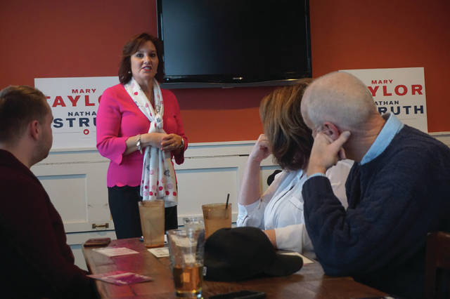 Ohio Lt. Gov. Mary Taylor speaks during a meet and greet session at Liberty Tavern in Powell on March 8.