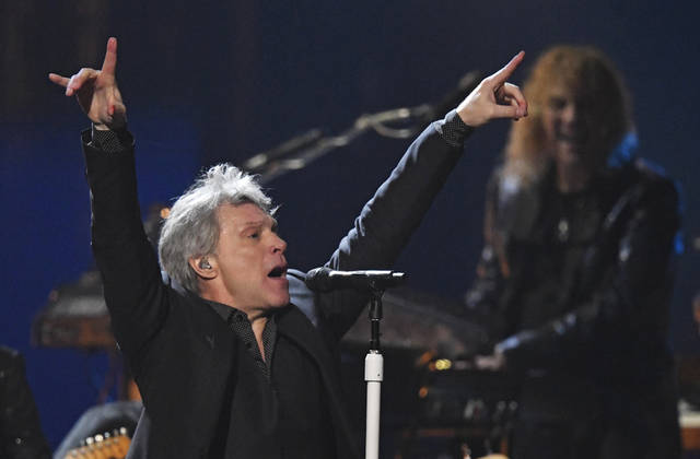 Jon Bon Jovi performs during the Rock and Roll Hall of Fame induction ceremony, Saturday, April 14, 2018, in Cleveland. (AP Photo/David Richard)