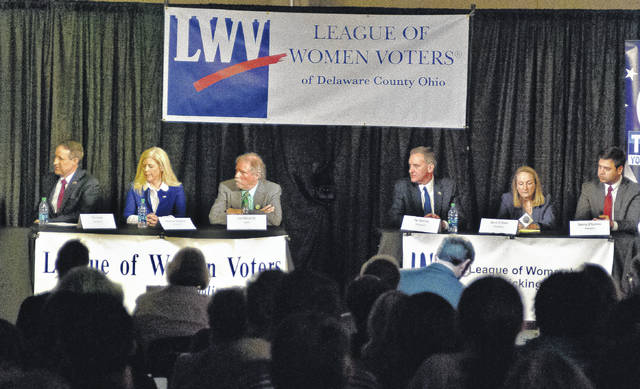 The League of Women Voters of Delaware County, Licking County and Metro Columbus, along with the Franklin County Consortium for Good Government, sponsored a forum Thursday for candidates seeking the Ohio 12th Congressional District seat in the May 8 primary. The event was held at the Delaware Area Career Center North Campus. Seated in the center of the stage, left to right, are Tim Kane, R-Dublin; Melanie Leneghan, R-Powell; Joe Manchik, G-Reynoldsburg; Pat Manley, R-Columbus; Carol O'Brien, R-Delaware; and Danny O'Conner, D-Columbus.