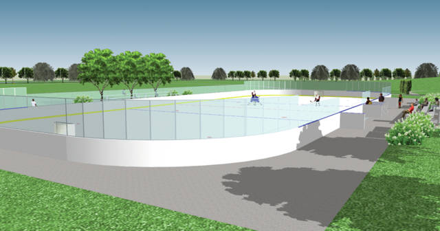 These drawings show different perspectives of the Thomas James Knox Memorial Rink.
