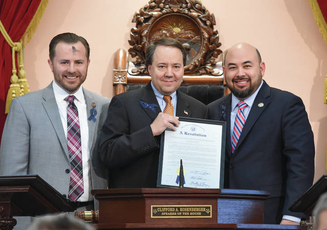 Left-to-right: Carfagna, Tiberi, Speaker of the House Clifford A. Rosenberger (R-Clarksville). Photo taken on Ash Wednesday.