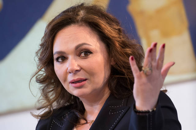 FILE - In this Sunday, April 22, 2018 file photo, Russian lawyer Natalia Veselnitskaya speaks during an interview with The Associated Press in Moscow, Russia. An organization established by an exiled Russian tycoon says it has obtained emails showing close connection between government officials and the Russian lawyer who took part in a 2016 meeting with Donald Trump's son and his then-campaign chairman. The emails suggest that Natalia Veselnitskaya worked closely with a top official in Russia's Prosecutor-General's office to fend off a US fraud case against her client, according to the Dossier organization. (AP Photo/Dmitry Serebryakov, file)