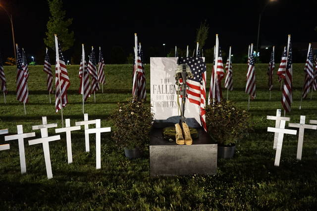 One of the many illuminated memorials at Westerville's Field of Heroes. Photo taken after 11 p.m. Sunday, May 27.