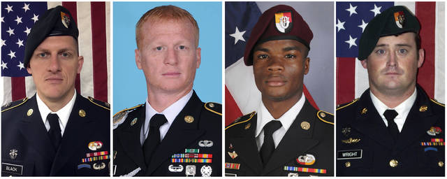 These images provided by the U.S. Army show, from left, Staff Sgt. Bryan C. Black, 35, of Puyallup, Wash.; Staff Sgt. Jeremiah W. Johnson, 39, of Springboro, Ohio; Sgt. La David Johnson of Miami Gardens, Fla.; and Staff Sgt. Dustin M. Wright, 29, of Lyons, Ga. All four were killed in Niger, when a joint patrol of American and Niger forces was ambushed by militants believed linked to the Islamic State group. The Pentagon on Thursday is releasing the final report on the Niger attack that killed four Americans last October, concluding that the Army Special Forces team did not get required command approval for the initial risky mission to go after a high-level insurgent.  (U.S. Army via AP)