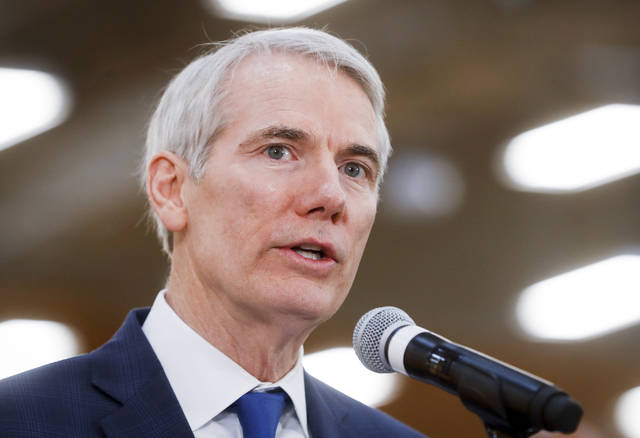 "FILE - In this April 16, 2018, file photo, Sen. Rob Portman, R-Ohio, speaks during a news conference in Cincinnati. The Obama administration secretly sought to give Iran brief access to the U.S. financial system by sidestepping sanctions kept in place after the 2015 nuclear deal, despite repeatedly telling Congress and the public it had no plans to do so. That's according to an investigation by Senate Republicans released June 6. ""The Obama Administration misled the American people and Congress because they were desperate to get a deal with Iran,"" said Portman, the subcommittee's chairman. (AP Photo/John Minchillo, file)"