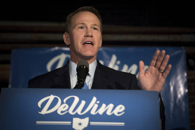 FILE - In this May 8, 2018 file photo, Jon Husted, Republican candidate for Ohio Lieutenant Governor, addresses supporters during the primary election in Columbus, Ohio. The U.S. Supreme Court is expected to rule soon on whether Americans can jeopardize their right to vote by not voting. The justices are considering a lawsuit against Ohio's secretary of state overflagging registered voters after they have missed one federal general election. If they don't respond to mailed notices and don't vote in the next two federal elections, they can be purged from voter rolls.(AP Photo/Bryan Woolston, File)