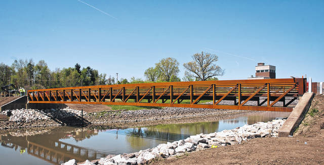 The new bike/pedestrian bridge that crosses over the Alum Creek Dam spillway opened Friday.