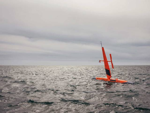 A saildrone off the coast of San Francisco on April 5, 2018. Photographer: Balazs Gardi for Bloomberg Businessweek.