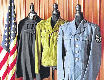 Military uniforms on view at the Myers Inn Museum.