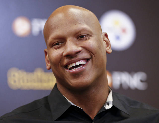 Pittsburgh Steelers linebacker Ryan Shazier takes questions during a news conference at the NFL football teams headquarters, Wednesday, June 6, 2018, in Pittsburgh. (AP Photo/ Photo/Keith Srakocic)