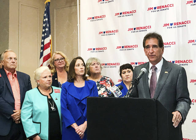 U.S. Rep. Jim Renacci, the Republican nominee for U.S. Senate in Ohio, speaks at a news conference in Cincinnati on Tuesday, July 10, 2018. Renacci announced Tuesday he supports limiting U.S. representatives to three terms in office and senators to two terms. (AP Photo/Angie Wang)