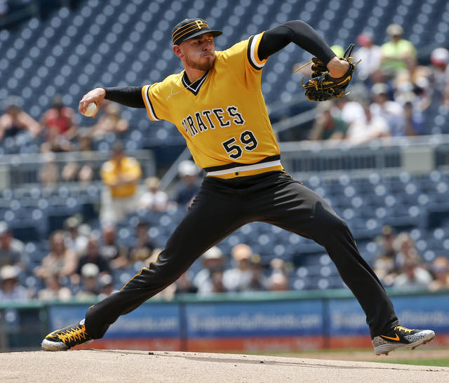 Pittsburgh Pirates starter Joe Musgrove (59) pitches against the Milwaukee Brewers in the first inning of a baseball game, Sunday, July 15, 2018, in Pittsburgh. (AP Photo/Keith Srakocic)