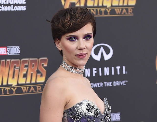"FILE - In this April 23, 2018 file photo, Scarlett Johansson arrives at the world premiere of ""Avengers: Infinity War"" in Los Angeles. Johansson has pulled out of the film ""Rub & Tug"" after her plans to portray a transgender man prompted a backlash. (Photo by Jordan Strauss/Invision/AP, File)"