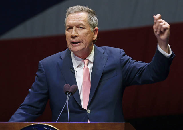 FILE – In this March 6, 2018, file photo, Ohio Gov. John Kasich speaks during the Ohio State of the State address in the Fritsche Theater at Otterbein University in Westerville, Ohio. Following condemned killer Robert Van Hook's death by lethal injection on July 18, 2018, the Republican governor has finished dealing with executions for the remainder of his time in office, after sparing seven men from execution during his two terms and allowing 15 executions to proceed. (AP Photo/Paul Vernon, File)