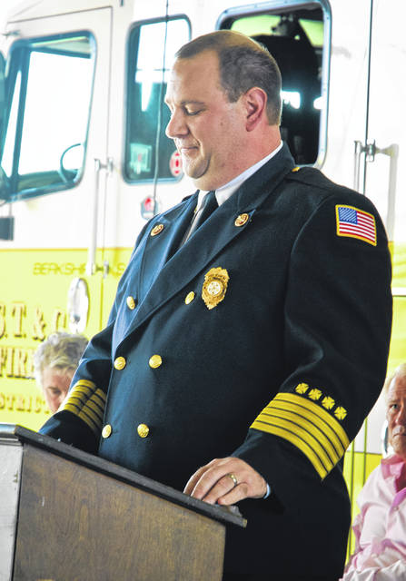 Fire Chief Christopher Kovach looks down at his notes for a moment of reflection before his speech as BST&G's new fire chief.