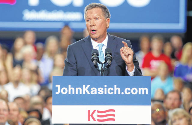 Republican U.S. presidential candidate and Ohio Governor John Kasich formally announces his campaign for the 2016 Republican presidential nomination during a kickoff rally in Columbus, Ohio July 21, 2015.  REUTERS/Aaron P. Bernstein - RTX1L8JG