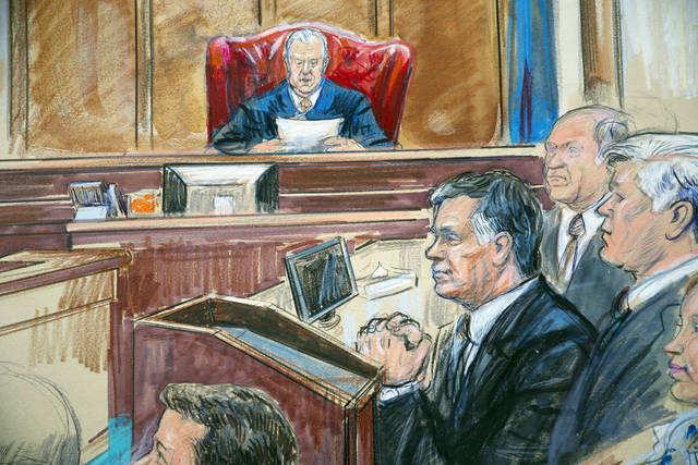 This courtroom sketch shows Paul Manafort listening to U.S. District court Judge T.S. Ellis III at federal court in Alexandria, Va., Tuesday, Aug. 21, 2018. Manafort, the longtime political operative who for months led Donald Trump's winning presidential campaign, was found guilty of eight financial crimes in the first trial victory of the special counsel investigation into the president's associates. A judge declared a mistrial on 10 other counts the jury could not agree on. (Dana Verkouteren via AP)