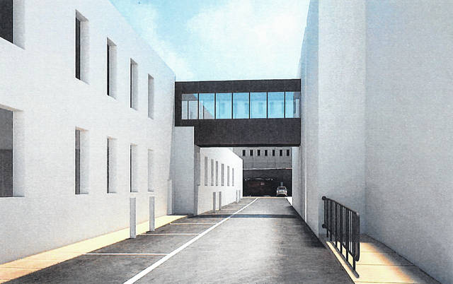 A rendering of the proposed pedestrian connector between the former Gazette building, left, on East William Street and Delaware City Hall, right.