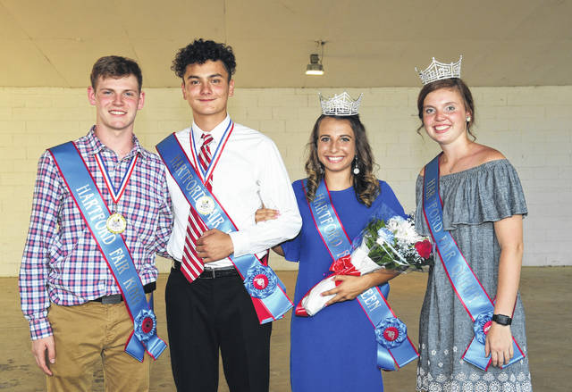From left are 2017 Hartford Fair King Brandon Fayh, 2018 Hart Ford Fair King Luke Park, 2018 Hartford Fair Queen Makenzie Westbrook, and 2017 Hartford Fair Queen Morgan McCutcheon. As an added note, McCutcheon is serving as the 2018 Ohio Fairs Queen. The Hartford Independent Fair opened on Saturday, August 4, in Croton, Ohio, and runs through Saturday, August 11. Traditionally, as the fair opens, members of the Hartford Junior Fair Board host the Hartford Fair King & Queen Contest, this year held at the fairground's Tara Amphitheater.