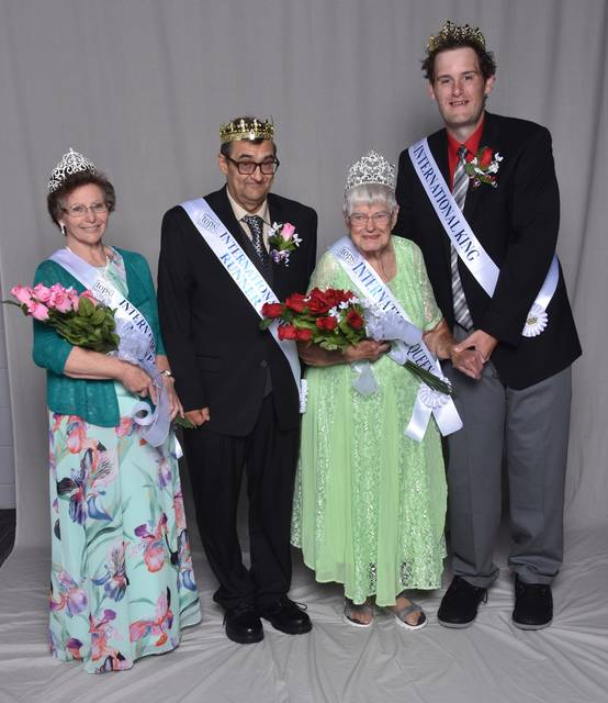 International King and Queen and the runner-up to the King and Queen – (l-r) Joyce Webb, Runner-up to Queen; Martin Aune, Runner-up to King; Vena Dickinson, International Queen; and Jeffery Yersich, International King.