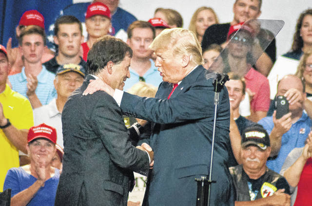President Donald Trump made a personal appearance on Saturday in Delaware County to rally support for Ohio's 12th Congressional District Republican nominee Troy Balderson. Before turning the podium over to Balderson, the president exchanged a quick handshake and greeting with the candidate before a crowd of thousands at Olentangy Orange High School in Lewis Center.