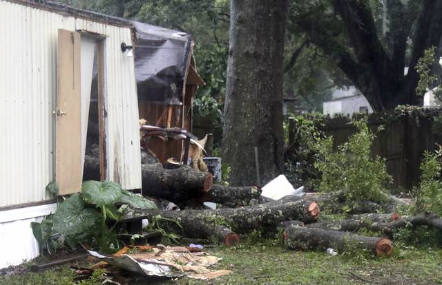 Pieces of an oak tree are seen after it fell on a mobile home killing a child in Pensacola, Fla., Wednesday, Sept. 5 2018. Tropical Storm Gordon never became a hurricane and is now a depression, dumping rain across several southern states. (Bill Kaczor via AP)