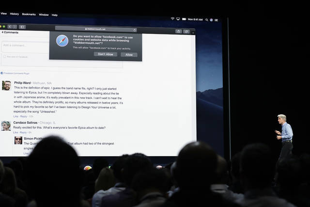 "In this June 4, 2018, photo Craig Federighi, Apple's senior vice president of Software Engineering, speaks during an announcement of new products at the Apple Worldwide Developers Conference in San Jose, Calif.  Facebook and other companies routinely track your online surfing habits to better target ads at you. Two web browsers now want to help you fight back in what's becoming an escalating privacy arms race. New protections in Apple's Safari and Mozilla's Firefox browsers aim to prevent companies from turning ""cookie"" data files used to store sign-in details and preferences into broader trackers that take note of what you read, watch and research on other sites. (AP Photo/Marcio Jose Sanchez)"
