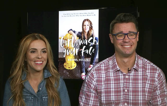 "This image taken from video shows Rachel Hollis, left, author of ""Girl, Wash Your Face: Stop Believing the Lies About Who You Are so You Can Become Who You Were Meant to Be,"" and her husband Dave Hollis, during an interview on Aug. 28, 2018 in New York. (AP Photo)"