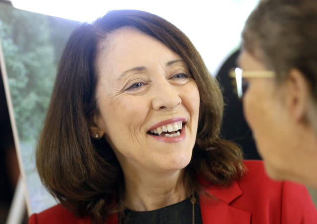 In this Monday, Sept. 10, 2018 photo, Washington U.S. Sen. Maria Cantwell is shown at a gathering in Vancouver, Wash.. Democratic incumbent Cantwell has easily won re-election for U.S. Senate in Washington state in previous years but as she seeks her fourth-term this November, she is facing her most recognizable opponent, Republican Susan Hutchison. (AP Photo/Don Ryan)
