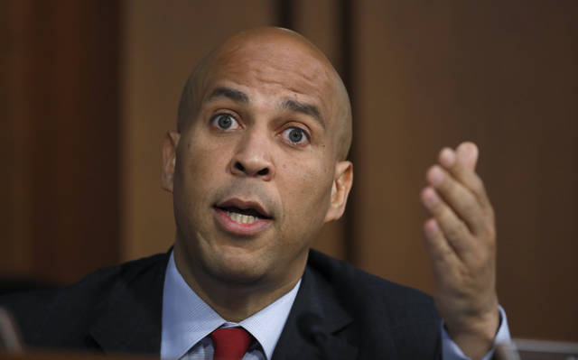FILE - In this Thursday, Sept. 6, 2018, file photo, Sen. Cory Booker, D-N.J., speaks before President Donald Trump's Supreme Court nominee, Brett Kavanaugh, testifies before the Senate Judiciary Committee on Capitol Hill in Washington, for the third day of his confirmation to replace retired Justice Anthony Kennedy. With the Iowa caucuses still well over a year away, Booker is working overtime to make an impression in Iowa and in other states crucial to the 2020 Democratic presidential nomination. (AP Photo/Alex Brandon, File)
