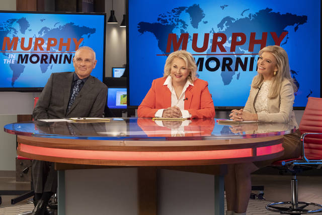"This image released by CBS shows Joe Regalbuto, Candice Bergen and Faith Ford from the comedy series, ""Murphy Brown."" Political, social issues and the role of journalism will be central when the sitcom, starring  Bergen as a skeptical TV reporter, returns Thursday on CBS. (David Giesbrecht/Warner Bros. via AP)"