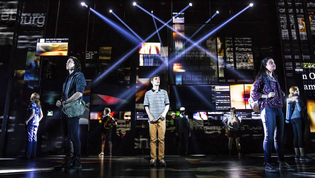 "In this undated photo provided by Dear Evan Hansen, the national touring cast of ""Dear Evan Hansen"" performs. In addition to selling out each night on Broadway, the show is launching a 50-city national tour from Denver. The first international production is slated for Toronto next year and another will bow in London. (Matthew Murphy/Dear Evan Hansen vi AP)"