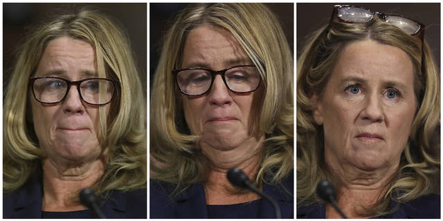 In this photo combination, Christine Blasey Ford testifies before the Senate Judiciary Committee, Thursday, Sept. 27, 2018 in Washington. (Pool Image via AP)