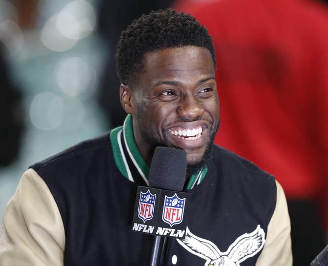 FILE - In this Feb. 4, 2018, file photo, Kevin Hart is interviewed after the Philadelphia Eagles defeated the New England Patriots in the NFL Super Bowl 52 football game in Minneapolis. The Professional Fighters League is the latest mixed martial arts promotion that will try and compete with UFC. Comedian Kevin Hart is among the investors in the league. (AP Photo/Tyler Kaufman, File)