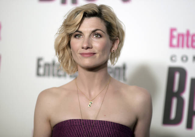 "FILE - In this July 21, 2018 file photo, Jodie Whittaker attends the Entertainment Weekly Comic-Con Celebration in San Diego. Whittaker stars in the latest season of ""Doctor Who,"" which premiered on Sunday, Oct. 7. (Photo by Richard Shotwell/Invision/AP, File)"