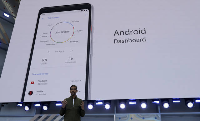 In this Tuesday, May 8, 2018 file photo, Google CEO Sundar Pichai speaks at the Google I/O conference in Mountain View, Calif. Google is expected to introduce two new smartphones in its relentless push to increase the usage of its digital services and promote its Android software that already powers most of the mobile devices in the world. The new phones will be the centerpiece of a showcase scheduled to begin late Tuesday morning, Oct. 9, 2018, in New York. (AP Photo/Jeff Chiu, File)