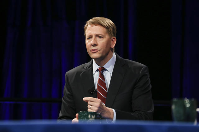 Republican gubernatorial candidate Richard Cordray speaks at a debate at Cleveland State University, Monday, Oct. 8, 2018, in Cleveland. Rep. Mike DeWine and opponent Democrat Richard Cordray are locked in a close, expensive race to replace Republican Gov. John Kasich, who's term-limited. (David Petkiewicz/Cleveland.com via AP, Pool)