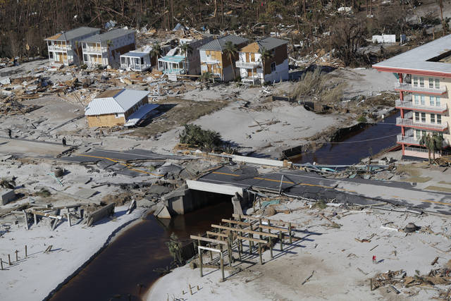 This photo shows devastation from Hurricane Michael in this aerial photo over Mexico Beach, Fla., Friday, Oct. 12, 2018. Blocks and blocks of homes were demolished, reduced to piles of splintered lumber or mere concrete slabs, by the most powerful hurricane to hit the continental U.S. in nearly 50 years. (AP Photo/Gerald Herbert)