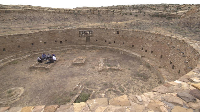 "This image released by Providence Pictures shows an ancient kiva in Pueblo Bonito in Chaco Culture National Historical Park, northern New Mexico. The location is featured in a new four-part PBS docuseries, ""Native America,"" that seeks to recreate a world in the Americas generations prior to the arrival of Europeans. The first episode of Native America ""From Caves to Cosmos."" is scheduled to air on most PBS stations on Tuesday. (Providence Pictures/PBS via AP)"