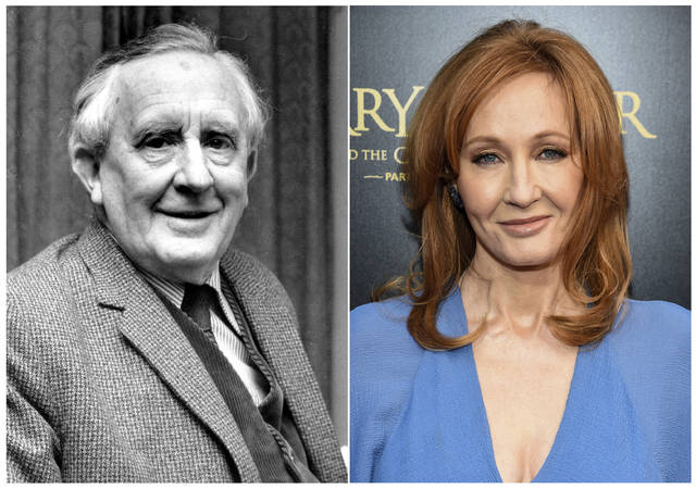 "This combination photo shows J.R.R. Tolkien, author of ""The Lord of the Rings,"" series in 1967, left, and J. K. Rowling, author of the ""Harry Potter"" series at  the ""Harry Potter and the Cursed Child"" Broadway opening in New York on April 22, 2018. The effort to discover America's best-loved novel - and promote reading - will end with the winner announced on Tuesday's finale of PBS' ""The Great American Read."" The series profiled the contenders and let bookworms, famous and not, advocate for their pick. (AP Photo)"