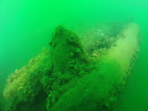 This Tuesday, Sept. 4, 2018, photo provided by Cleveland Underwater Explorers Inc. shows the remains of a shipwreck found in the Ohio waters of Lake Erie. Shipwreck hunters and a marine archaeologists say the wreckage found in 2015 is most likely from a sailing ship that went down nearly two centuries ago. The discovery would make it the oldest ever found in the lake. (David M VanZandt/Cleveland Underwater Explorers Inc. via AP)