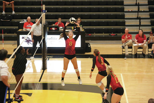 Big Walnut's #8 Samantha Bickley (Senior) sets against Franklin Heights in a straight-set victory.