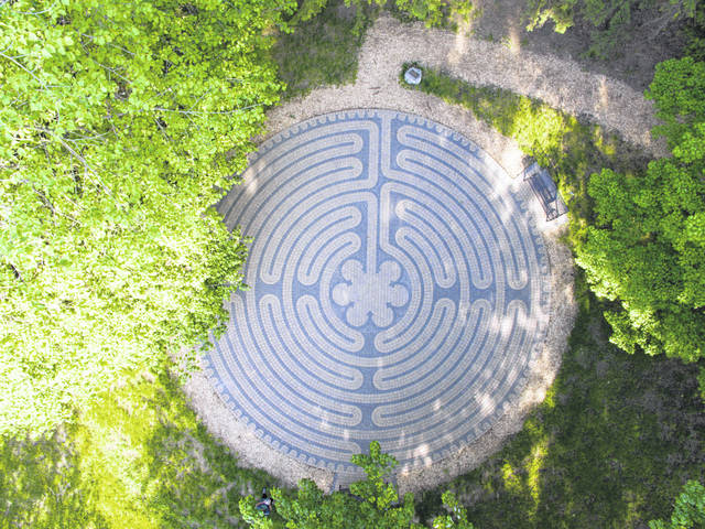 Pictured is the labyrinth located on the Ohio Wesleyan University campus in Delaware.