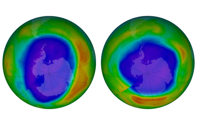 This combination of images made available by NASA shows areas of low ozone above Antarctica on September 2000, left, and September 2018. The purple and blue colors are where there is the least ozone, and the yellows and reds are where there is more ozone. A United Nations report released on Monday, Nov. 5, 2018 says Earth's protective ozone layer is finally healing after aerosol sprays and coolants ate away at it. (NASA via AP)